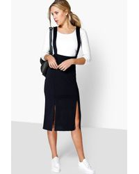 Boohoo - Blue Eliza Front Split Pinafore Dress - Lyst
