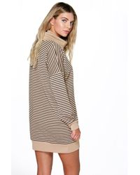 Boohoo | Gray Natasha Stripe Roll Neck Shirt Dress | Lyst