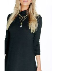 Boohoo - Natural Sophie Turtle Neck Fine Knit Swing Dress - Lyst