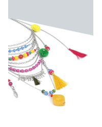 Boohoo - Multicolor Lily Multi Layered Necklace - Lyst