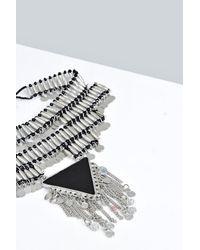 Boohoo - Metallic Maya Beaded Triangle Statement Choker - Lyst