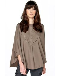 Boohoo - Natural Mary Ladder Detail Oversized Lace Up Blouse - Lyst