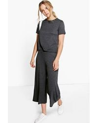 Boohoo - Black Iza Boxy Jumper & Culottes Knitted Co-ord - Lyst