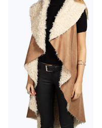 Boohoo - Brown Lydia Shaggy Borg Lined Waterfall Gilet - Lyst