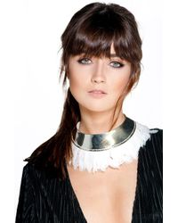 Boohoo - Metallic Angel Metal And Feather Statement Necklace - Lyst