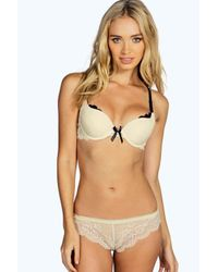 Boohoo - Natural Katie All Over Lace Frill Thong - Lyst