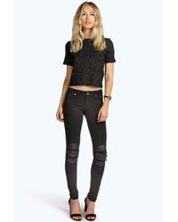 Boohoo - Black Elsie Trouser With Knee Zip - Lyst