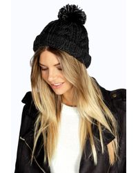 Boohoo - Black Rosie Chunky Knit Bobble Hat - Lyst