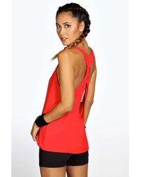 Boohoo | Red Alison Fit Twist Back Drop Arm Vest | Lyst
