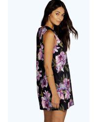 Boohoo - Purple Olivia Floral Deep Plunge Shift Dress - Lyst