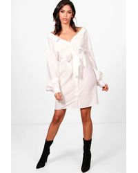 da1cbd98b8681 Boohoo Belted Shirt Dress in White - Lyst