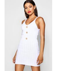 402eec888cbc Boohoo Button Front Rib Knit Dress in White - Lyst