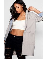 Boohoo - Black Pu Coated Rain Mac - Lyst