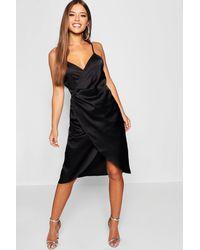 c37b9af14275 Boohoo Petite Satin Wrap Midi Dress in Black - Lyst