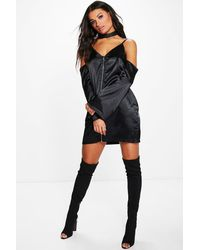 Boohoo - Black Vera Cold Shoulder Satin Slip Shift Dress - Lyst