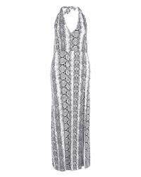 Boohoo - Gray Plus Jackie Slinky Snake Print Plunge Maxi Dress - Lyst