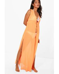Boohoo Orange Heidi Sleeveless Beach Kimono