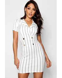 22a9d88682bb Boohoo Stripe Blazer Dress in White - Lyst