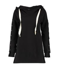 Boohoo - Black Athleisure Popper Sleeve Sports Dress - Lyst