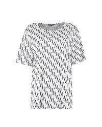 Boohoo - White Diagonal Repeat Print Tee - Lyst