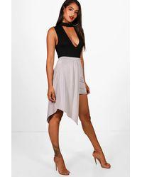 1446871af5 Boohoo Slinky Extreme Drape Mini Skirt in Metallic - Lyst
