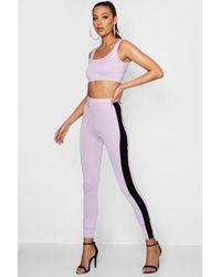 30de772fe64b5 Boohoo Tall Scoop Bralet & Leggings Co-ord in Purple - Lyst
