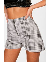 Boohoo - Gray Zip Front Checked Shorts - Lyst