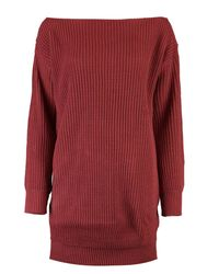 Boohoo | Red Cara Slash Neck Fisherman Jumper Dress | Lyst