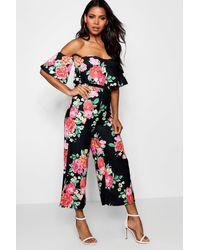e6d6601a1 Boohoo Floral Choker Detail Culotte Jumpsuit - Lyst