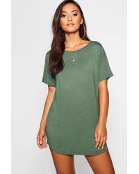 Boohoo Womens Petite Curved Hem T-shirt Dress - Green - 0