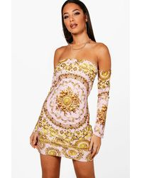 4309b4f74e8e Boohoo Baroque Off The Shoulder Bodycon Dress in Pink - Lyst