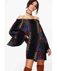 Boohoo   Black Casey Panel Print Off Shoulder Shift Dress   Lyst