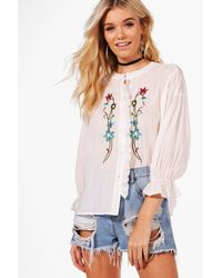 Boohoo - White Maisie Embroidered Ruffle Shirt - Lyst