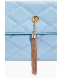 Boohoo - Blue Lauren Quilted Metal Tassel Cross Body Bag - Lyst