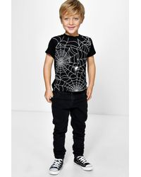 Boohoo | Black Boys Cobweb Print Tee for Men | Lyst