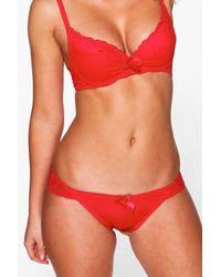 Boohoo | Red Ellie Mesh And Lace Bra + Brief Set | Lyst