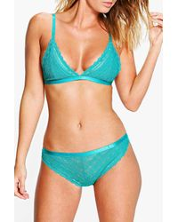 Boohoo - Blue Orla Linear Lace Brazillian Brief - Lyst