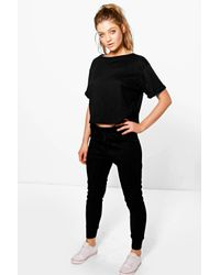 Boohoo - Black Lola Ribbed Tshirt And Jogger Lounge - Lyst