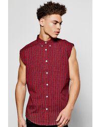 Boohoo | Red Raw Edge Sleeveless Check Shirt for Men | Lyst