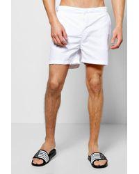 02e4d29224 Boohoo Smart Taslan Swim Shorts in White for Men - Lyst