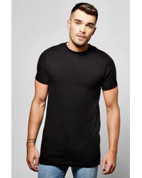 Boohoo - Black Longline Muscle T Shirt With Side Zip for Men - Lyst