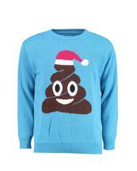 Boohoo - Blue Poo Emoji Christmas Jumper for Men - Lyst