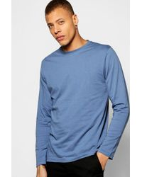 Boohoo | Blue Long Sleeve Crew Neck T Shirt for Men | Lyst