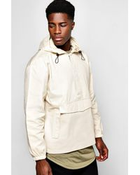 Boohoo - Natural Front Pocket Over The Head Jacket With Back Print for Men - Lyst