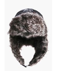 Boohoo - Black Faux Fur Trim Quilted Trapper - Lyst