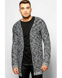 Boohoo Black Twisted Yarn Edge To Edge Cardigan for men