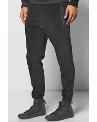 Boohoo - Black Skinny Fit Velour Joggers With Zip Pockets for Men - Lyst