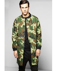 Boohoo   Green Cotton Lined Ma1 Longline Bomber Jacket for Men   Lyst