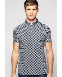 Boohoo - Blue Grid Print Polo for Men - Lyst