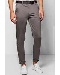 Boohoo - Gray Stretch Skinny Chinos for Men - Lyst